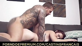 CASTING FRANCAIS - Canadian redhead newbie taste big dick and gets banged