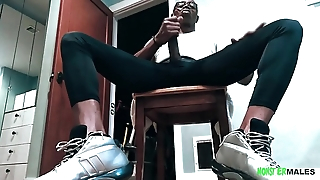 Big dick straight black stud Sean Michaels jerks his BBC wearing sneakers