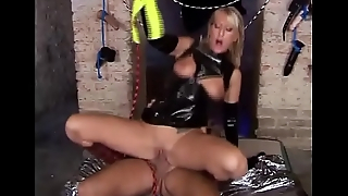 Blonde fetish slut rides a big cock