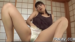 Sultry asian collects warm sperm to lather up her hairy twat