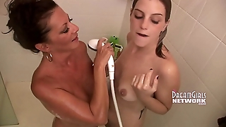 Mom &amp_ Step Daughter Take A Shower