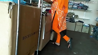 Aunty showing ass in shop
