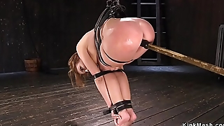 Busty oiled coddle pussy toed in bondage