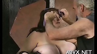 Hot female fucked and stimulated in extreme servitude